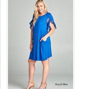 1X Plus Size Midi Short Sleeve Dress Royal Blue